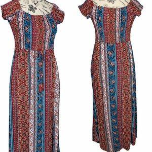 Band of Gypsies Festival Boho Print Maxi Dress L